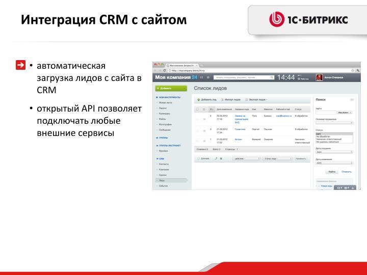 Интеграция CRM с сайтом
