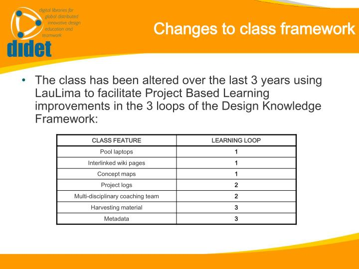 Changes to class framework