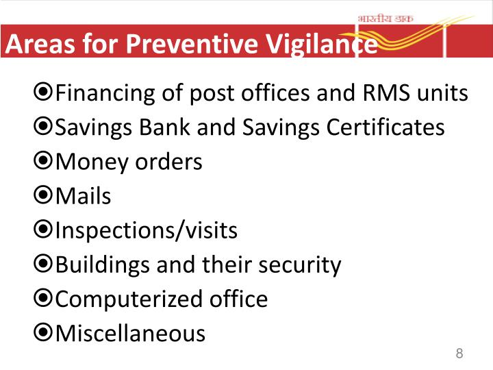 Areas for Preventive Vigilance