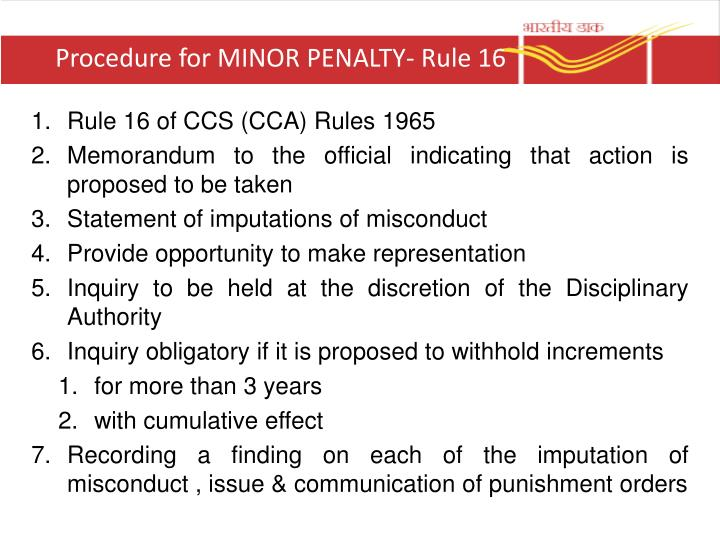 Procedure for MINOR PENALTY- Rule 16