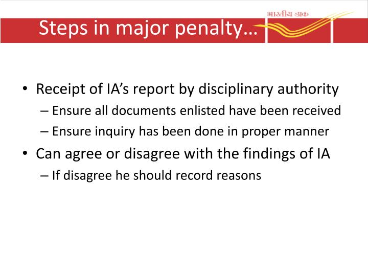 Steps in major penalty…