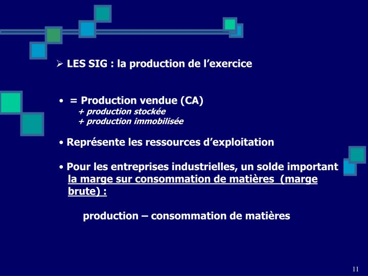 LES SIG : la production de l'exercice