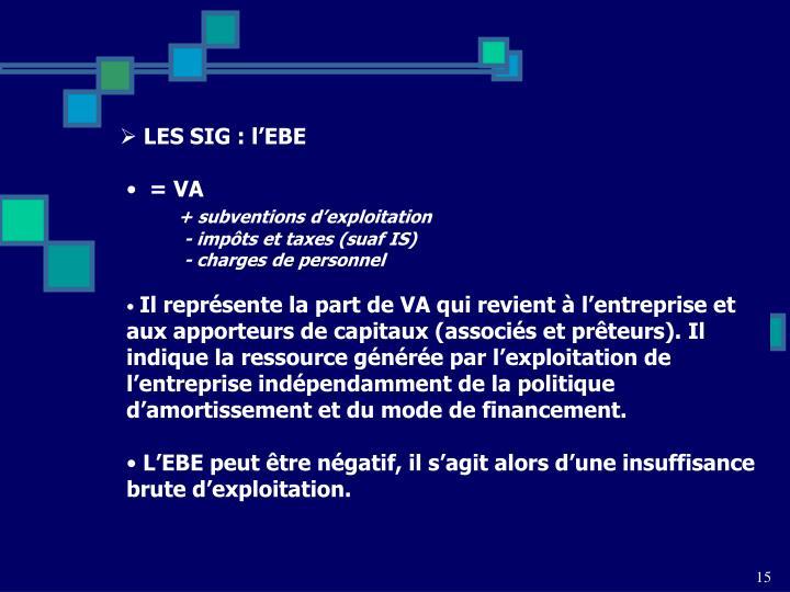 LES SIG : l'EBE