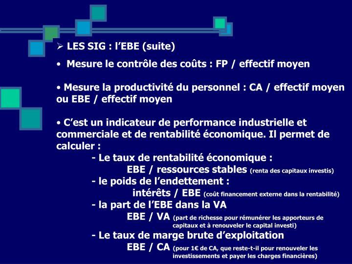 LES SIG : l'EBE (suite)
