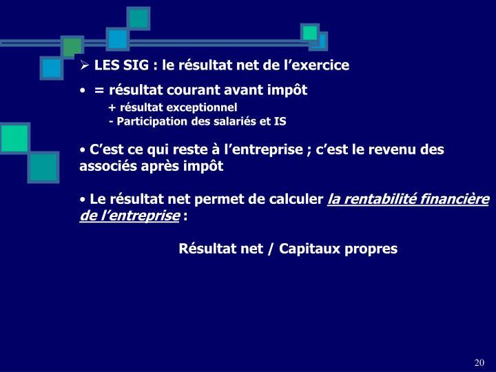 LES SIG : le résultat net de l'exercice
