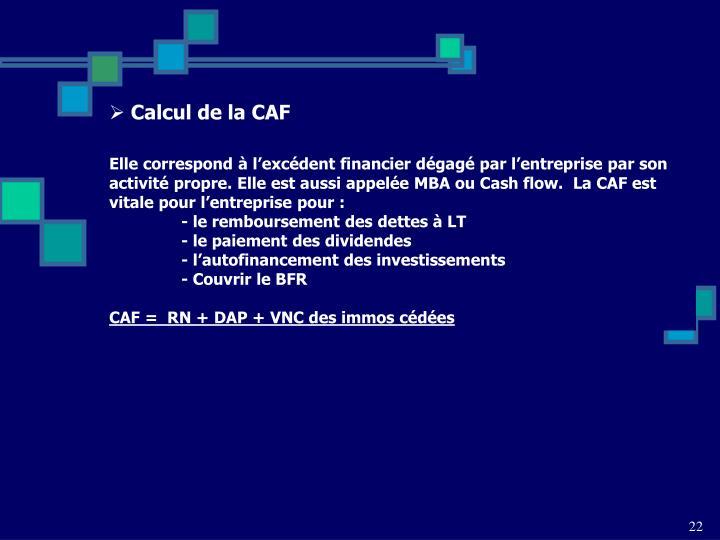 Calcul de la CAF
