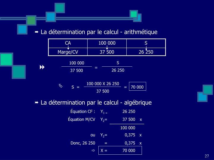 La détermination par le calcul - arithmétique
