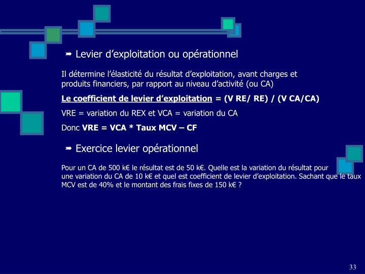 Levier d'exploitation ou opérationnel