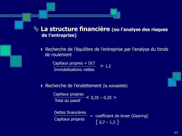 Recherche de l'équilibre de l'entreprise par l'analyse du fonds