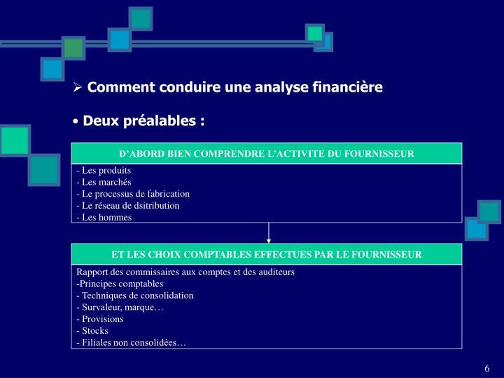 Comment conduire une analyse financière