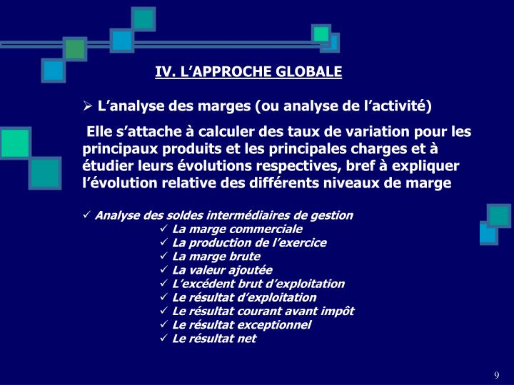 IV. L'APPROCHE GLOBALE