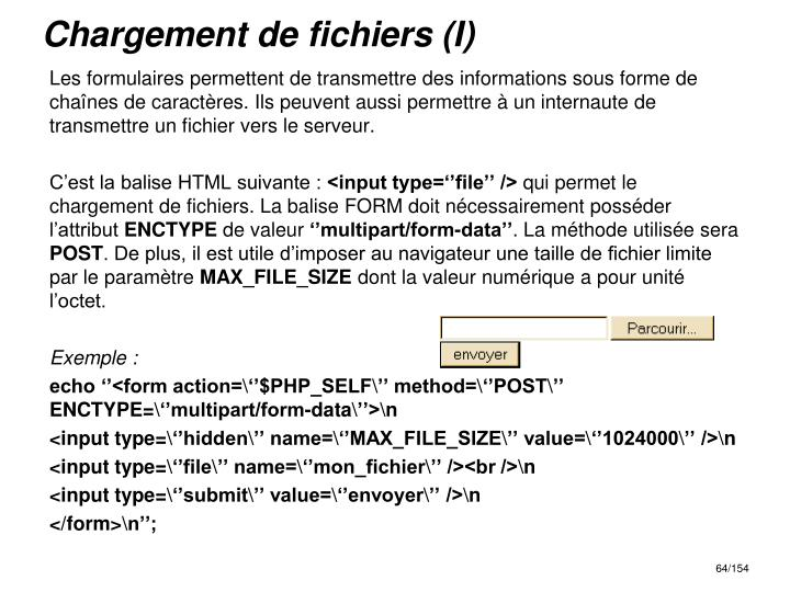 Chargement de fichiers (I)
