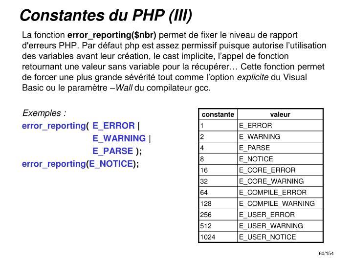 Constantes du PHP (III)