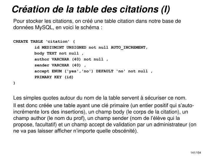 Création de la table des citations (I)
