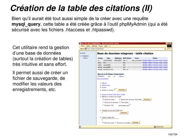 Création de la table des citations (II)