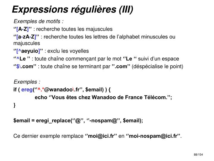Expressions régulières (III)