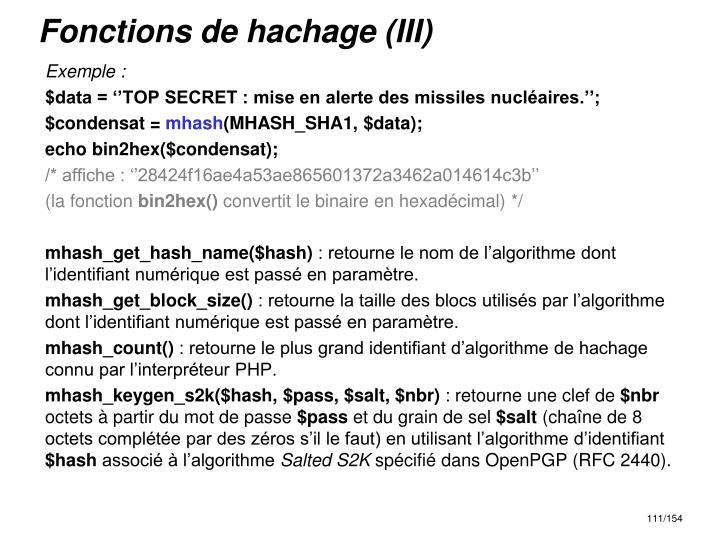 Fonctions de hachage (III)