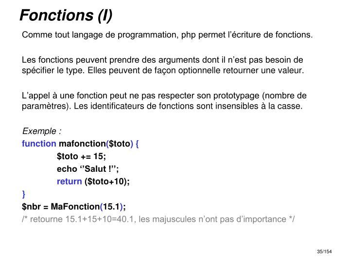 Fonctions (I)