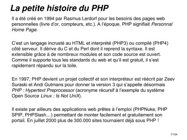 La petite histoire du PHP