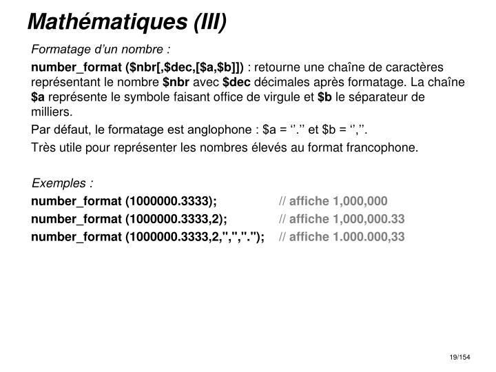 Mathématiques (III)