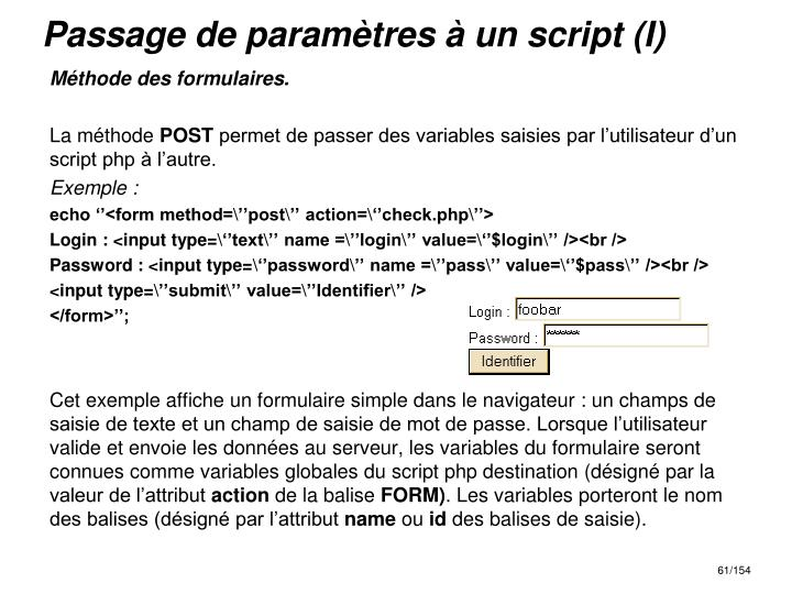 Passage de paramètres à un script (I)