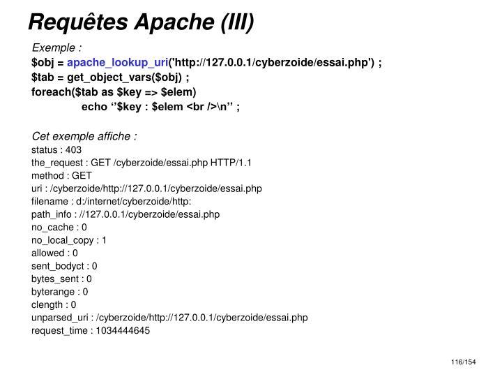 Requêtes Apache (III)