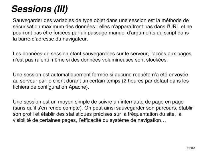 Sessions (III)