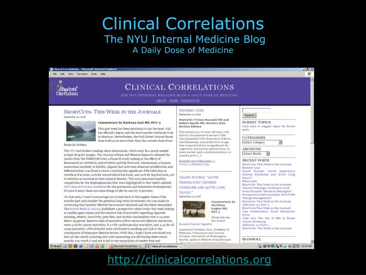 Clinical correlations the nyu internal medicine blog a daily dose of medicine