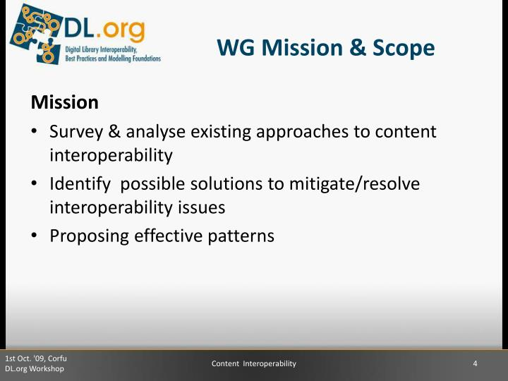 WG Mission & Scope