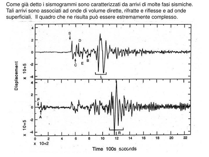 Come già detto i sismogrammi sono caratterizzati da arrivi di molte fasi sismiche.  Tali arrivi sono associati ad onde di volume dirette, rifratte e riflesse e ad onde superficiali.  Il quadro che ne risulta può essere estremamente complesso.