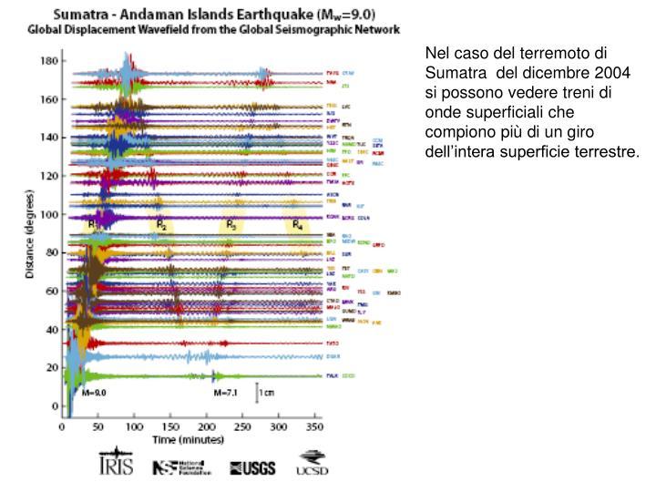 Nel caso del terremoto di Sumatra  del dicembre 2004 si possono vedere treni di onde superficiali che compiono più di un giro dell'intera superficie terrestre.