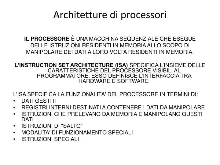 Architetture di processori