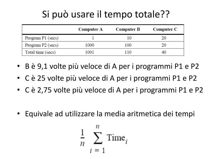 Si può usare il tempo totale??