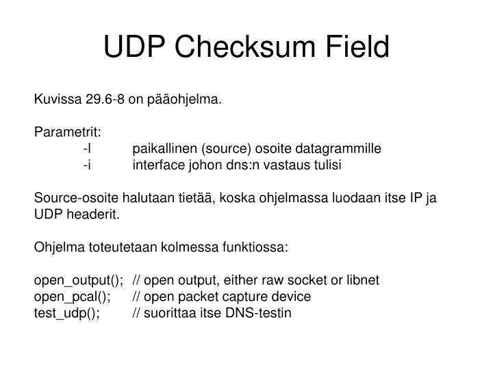 UDP Checksum Field