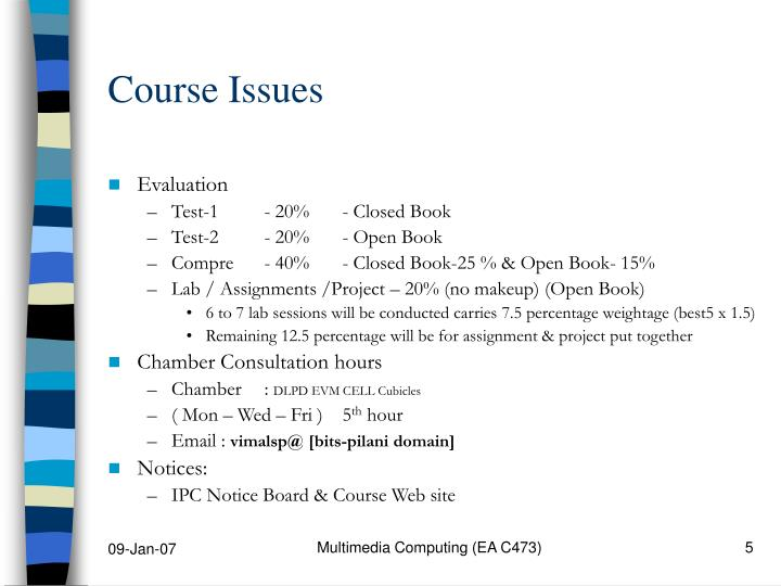 Course Issues