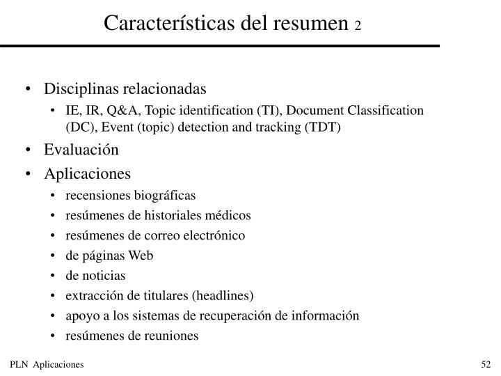 Características del resumen