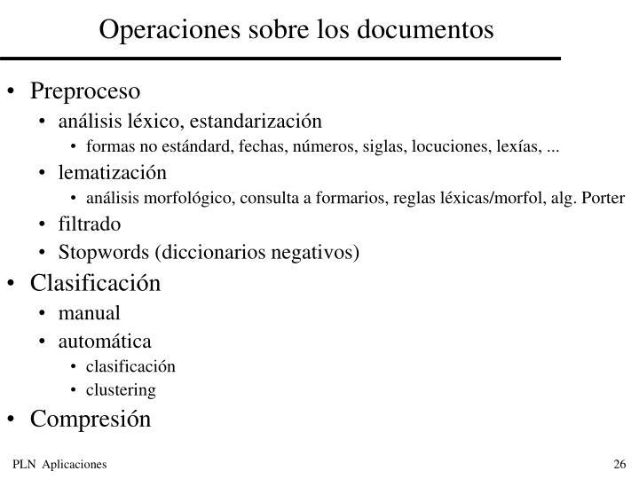Operaciones sobre los documentos