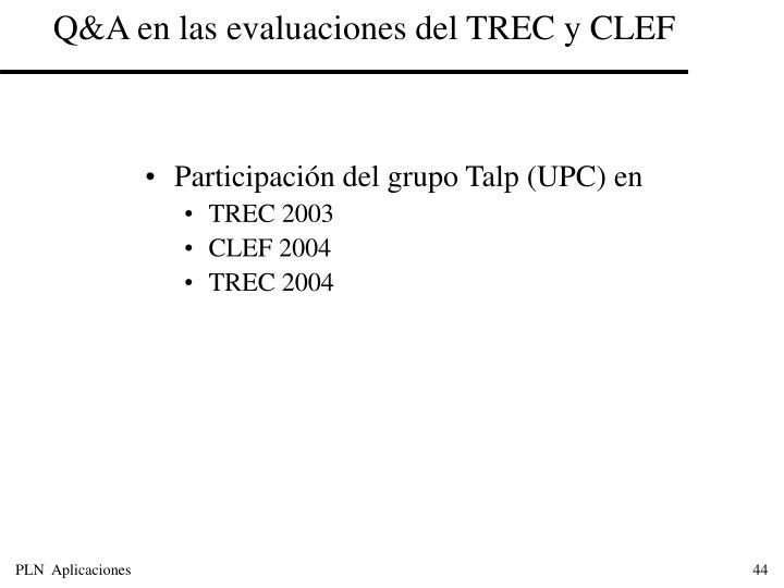 Q&A en las evaluaciones del TREC y CLEF