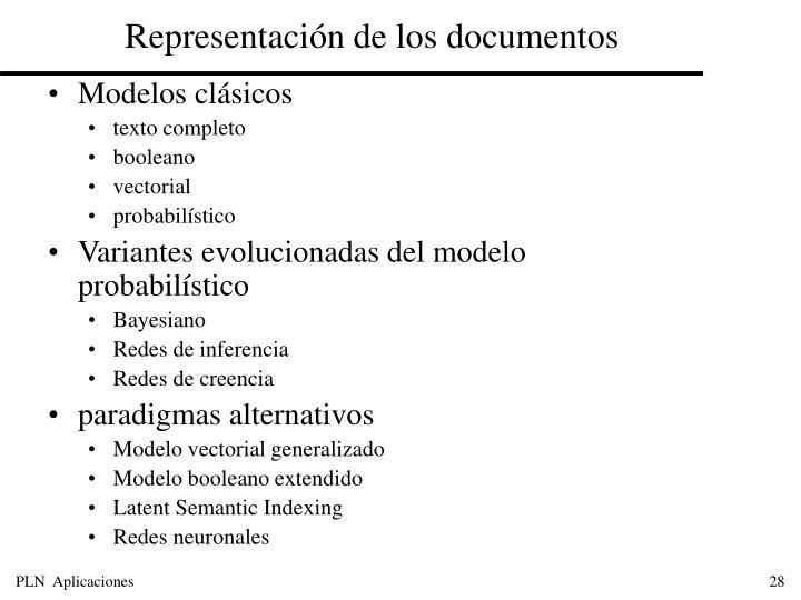 Representación de los documentos