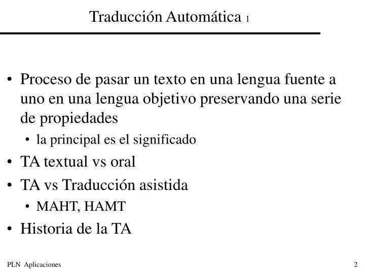 Traducción Automática