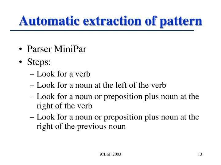 Automatic extraction of pattern