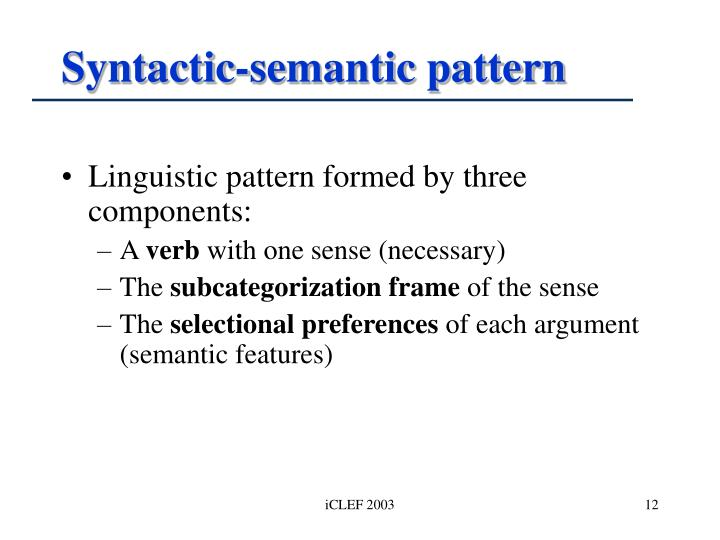 Syntactic-semantic pattern