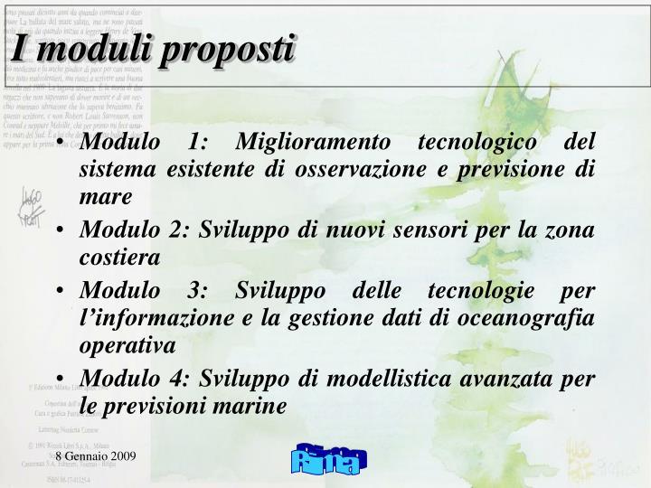 I moduli proposti