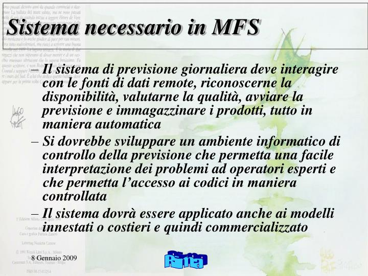 Sistema necessario in MFS