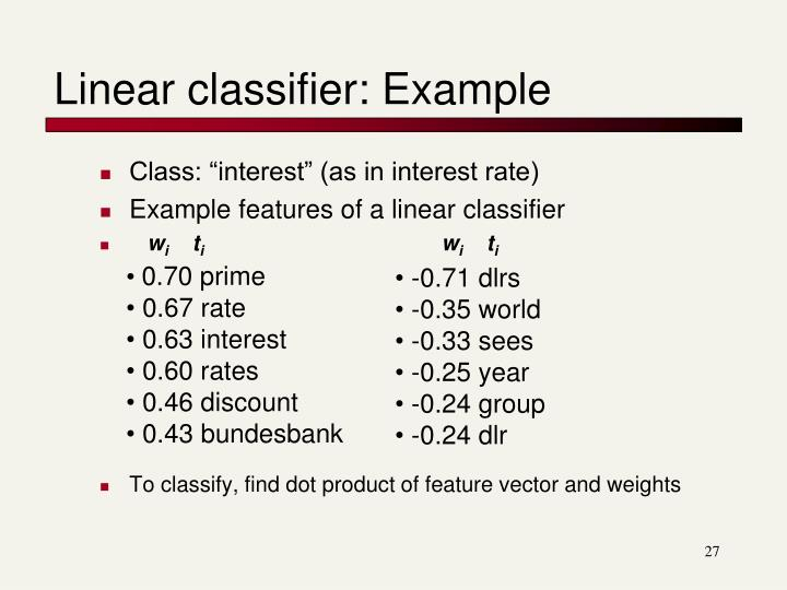 Linear classifier: Example