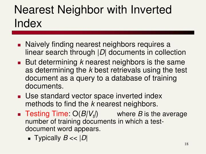 Nearest Neighbor with Inverted Index