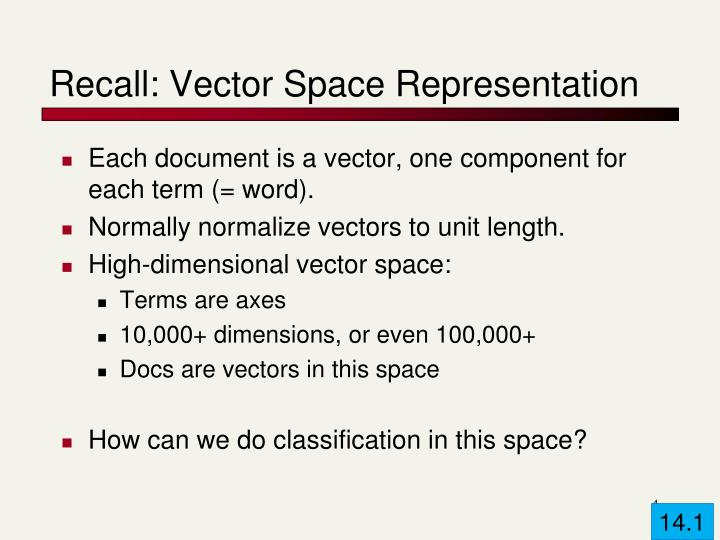 Recall: Vector Space Representation