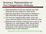 summary representation of text categorization attributes