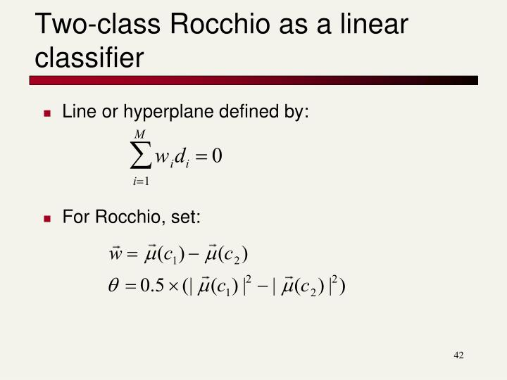 Two-class Rocchio as a linear classifier