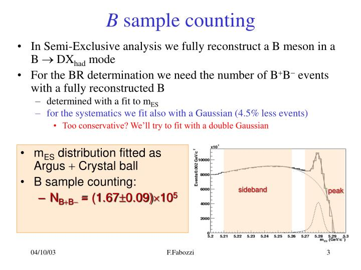 B sample counting